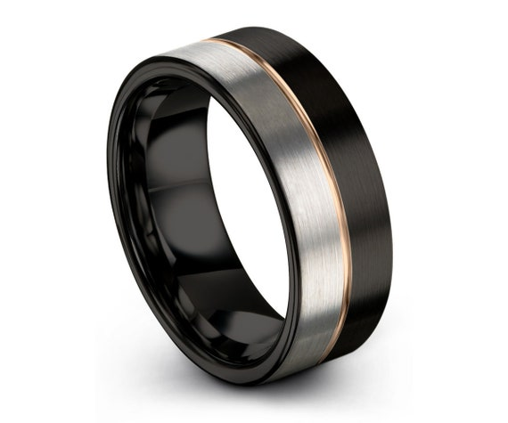 Mens Wedding Band Black, Rose Gold Tungsten Ring 8mm 18K, Wedding Ring Silver, Engagement Ring, Promise Ring, Gifts for Him, Mens Ring