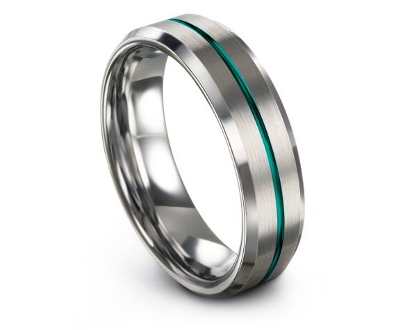 Silver Beveled Tungsten Wedding Ring Set | Mens Wedding Ring Teal | Center Engravable Ring | Initial Jewelry | Gift For Husband