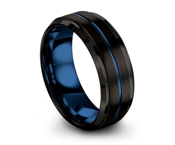 Mens Wedding Band Blue, Black Wedding Ring, Tungsten Ring 8mm, Personalized, Engagement Ring, Promise Ring, Gifts for Her, Gifts for Him