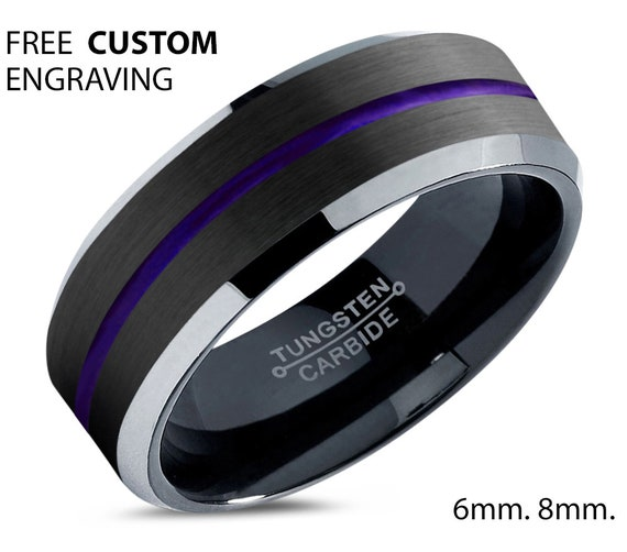 Black Polished Tungsten Wedding Band Purple Line - Unisex Wedding Band for Men & Women - Free Custom Personalized Engraving - 6mm, 8mm