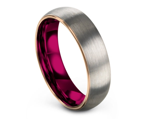 Tungsten Engagement Ring Women Red, Domed Tungsten Silver Ring, Tungsten Carbide Wedding Band, Pink Tungsten Ring Set, Free Fast Shipping