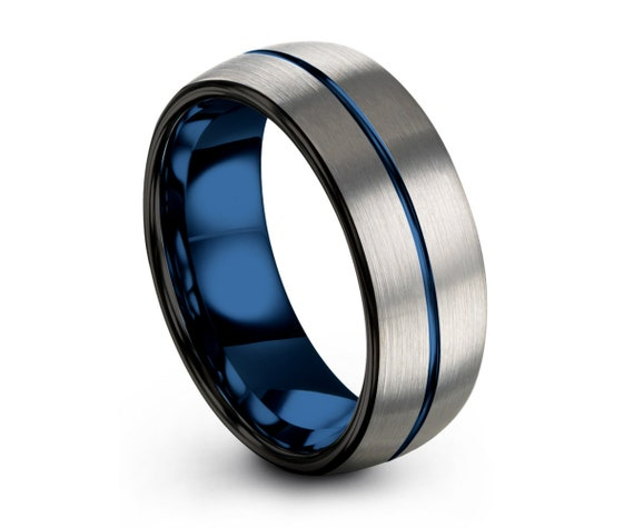 Tungsten wedding band Mens Wedding Band Thin Blue Line, Tungsten Ring Brushed Silver 8mm, Wedding Ring Engagement Ring Rings Men Rings Women