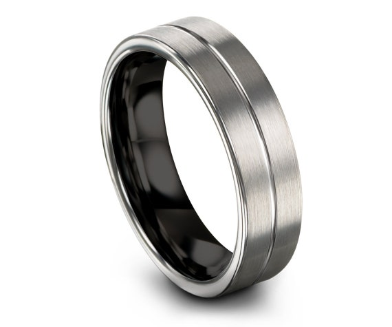 Handmade Tungsten Ring Silver, Tungsten Wedding Band Ring, Men's Tungsten Wedding Band, Center Line Engraving Ring, Little Gift, Love Rings