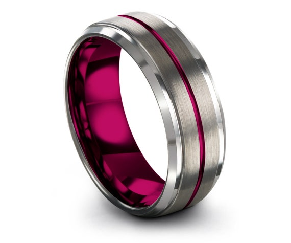 Best Friend Gifts - Women Wedding Band, Silver Tungsten Ring, Thin Line Engraving Pink, Tungsten Ring Set, Personalized Rings, Gifts for Men