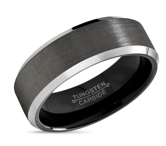 GUNMETAL Tungsten Ring, Mens Wedding Band Black 8mm, Wedding Ring, Engagement Ring, Promise Ring, Rings for Men, Mens Ring, Black Ring