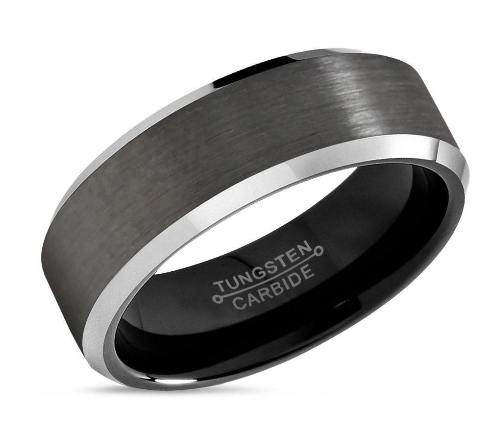 gunmetal tungsten ring mens wedding band black 8mm. Black Bedroom Furniture Sets. Home Design Ideas