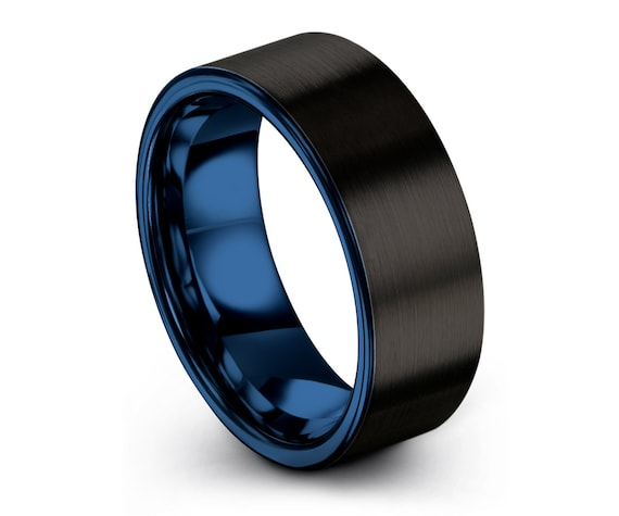 Unisex Wedding Band | Men & Women Promise Ring | Unique Blue Modern Wedding Ring | Tungsten Band Rings | Multiple MM available