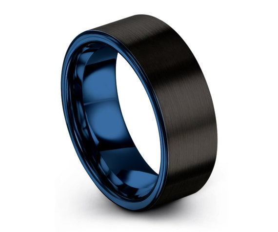 Unisex Wedding Band   Men & Women Promise Ring   Unique Blue Modern Wedding Ring   Tungsten Band Rings   Multiple MM available
