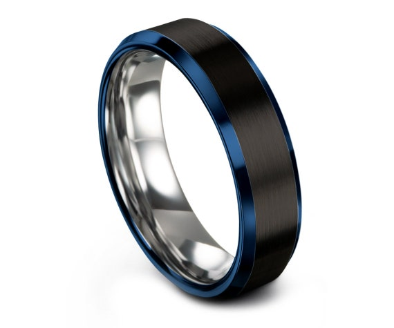 Tungsten Wedding Band Black | Rings For Women Blue | Unique Wedding Gifts | Tungsten Silver Wedding Band | Gifts For Her| Jewelry Ring