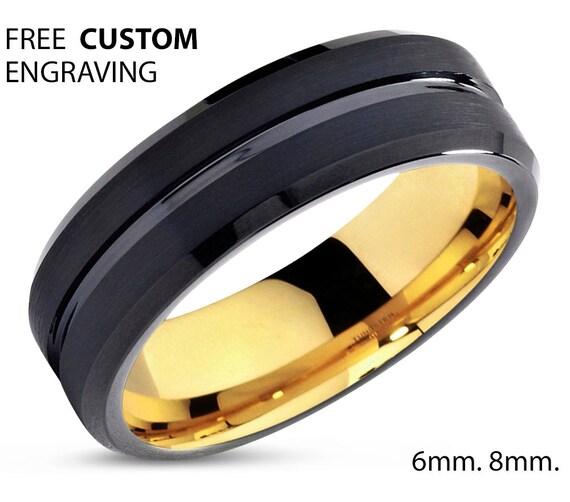 Mens Ring Black, Mens Wedding Band Yellow Gold 18K 6mm, Tungsten Ring, Engagement Ring, Promise Ring, Rings for Men, Rings for Women