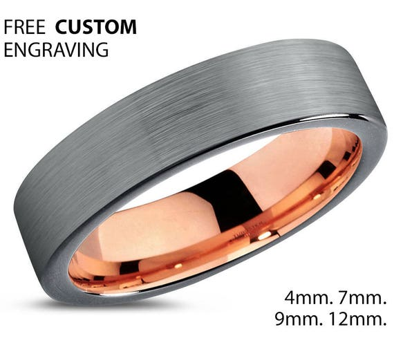 Mens Wedding Band, Rose Gold Wedding Ring, Tungsten Ring 4mm 18K, Engagement Ring, Promise Ring, Silver Ring, Rings for Men, Rings for Women