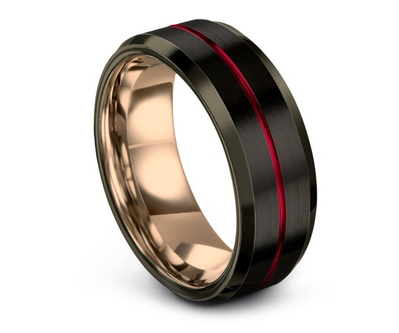 His and Hers Wedding Band Set Red, 8mm Tungsten Black Rings, 18K Rose Gold Wedding Ring, Black and Gunmetal, Gift For Papa, Promise Ring
