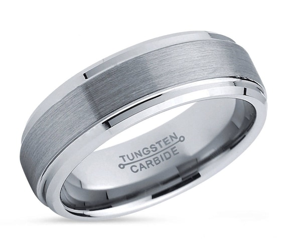 Tungsten Wedding Band,Silver Tungsten Ring,Men & Women,Tungsten Carbide Ring,Anniversary Ring,Brush Tungsten Band F