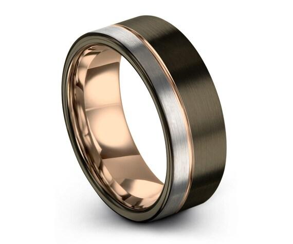 GUNMETAL Tungsten Ring, Mens Wedding Band, Rose Gold Ring 18K 8mm, Wedding Ring, Engagement Ring, Promise Ring, Rings for Men, Gold Ring