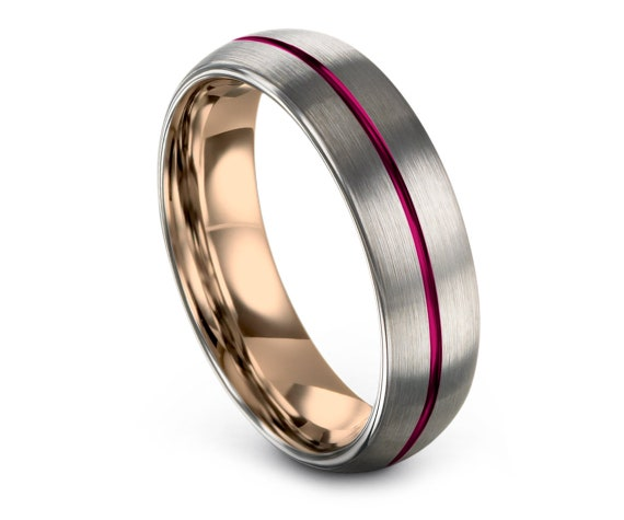 Domed Tungsten Wedding Band Silver| Tungsten Rose Gold Rings| Pink Tungsten Carbide 4mm 6mm 8mm| Tungsten His and Hers Rings| Free Shipping