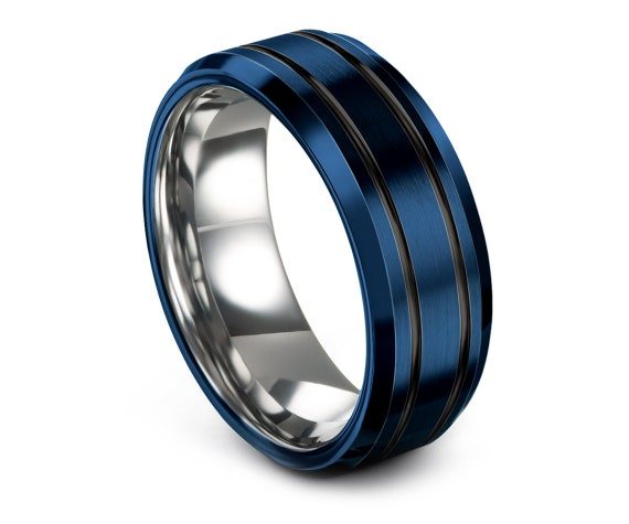 8mm Beveled Tungsten Wedding Band Blue,Men's Wedding Band Black,Silver Tungsten Engagement Ring,Personalized Rings,Free Engraving