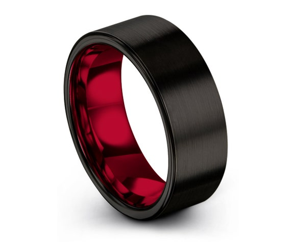 Mens Ring Black, Mens Wedding Band Red 8mm, Tungsten Ring, Engagement Ring, Promise Ring, Rings for Men, Rings for Women, Black Ring
