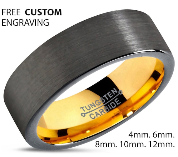 Gold Wedding Band, Brushed Tungsten Ring, Gunmetal, Engagement Ring, Rings for Men, Rings for Women, Personalized, Gold Ring, Promise Ring