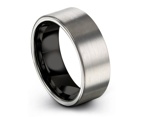 Mens Wedding Band Black,Grey Tungsten Ring,Wedding Ring,Engagement Ring,Promise Ring,Rings for Men,Rings for Women,Black Ring,Mens Ring