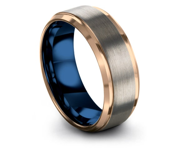 Grey Wedding Band,Beveled Rose Gold Tungsten Ring,Mens Blue Ring,Gifts For Him,Matching Anniversary Gifts,Promise Ring,4mm 6mm 8mm 10mm