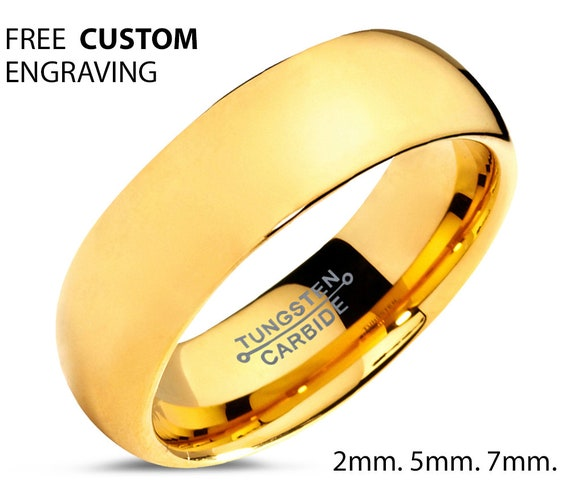 Mens Wedding Band, Yellow Gold Wedding Ring, Tungsten Ring 5mm 18K, Engagement Ring, Promise Ring, Rings for Men, Rings for Women, Gold Ring
