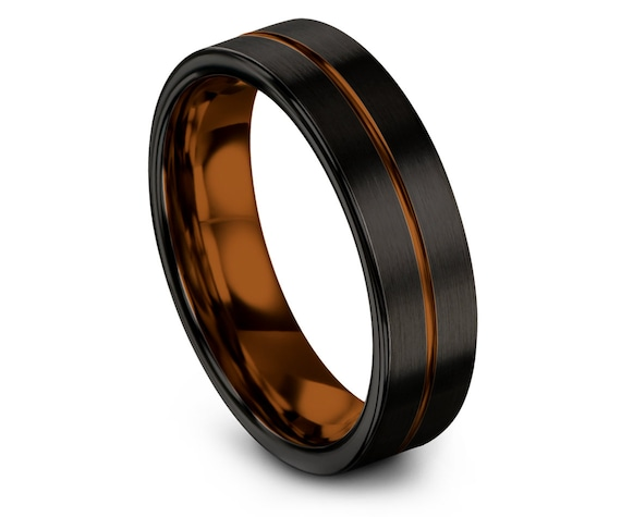 Women Wedding Band Black,Tungsten Engagement Ring,Engraved Wedding Ring Copper,His and Hers Rings,Women Anniversary Ring,Promise Ring