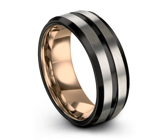 Mens Wedding Band, Rose Gold Wedding Ring, Tungsten 6mm 18K, Engagement Ring, Promise Ring, Personalized, Gifts for Her, Gifts for Him