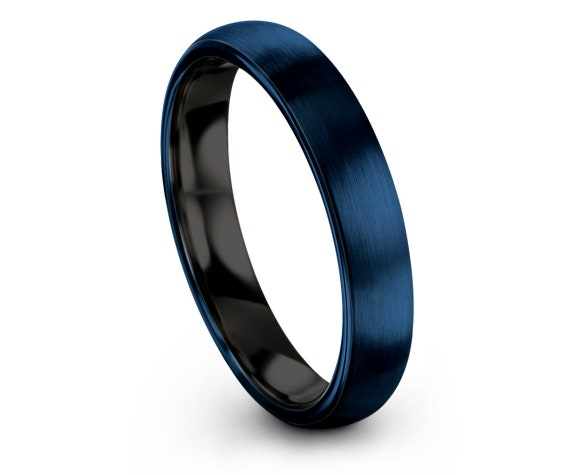 Blue Tungsten Ring Domed, His and Hers Rings, Wedding Bands Women, Black Tungsten 4mm Rings, Custom Ring, Idea For Gift, Free Shipping