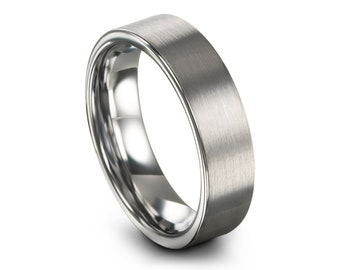 Men's Wedding Band, Wedding Ring Brushed Silver, Tungsten Ring, Engagement Ring, Promise Ring, Personalized, Rings for Men, Rings for Women