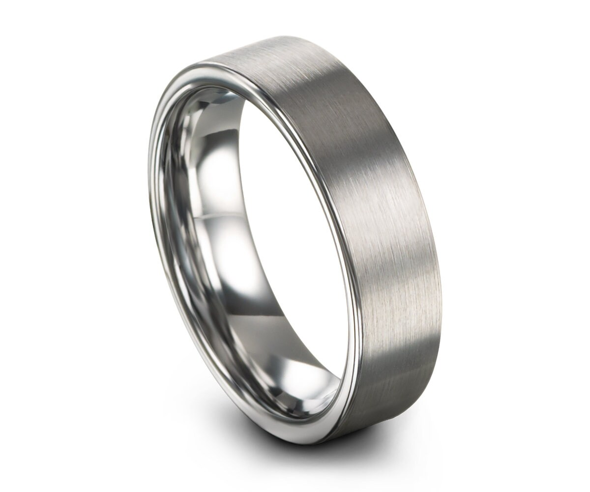 Silver Tungsten Carbide Whith Brushed Men Women Engagemend Wedding Ring Band