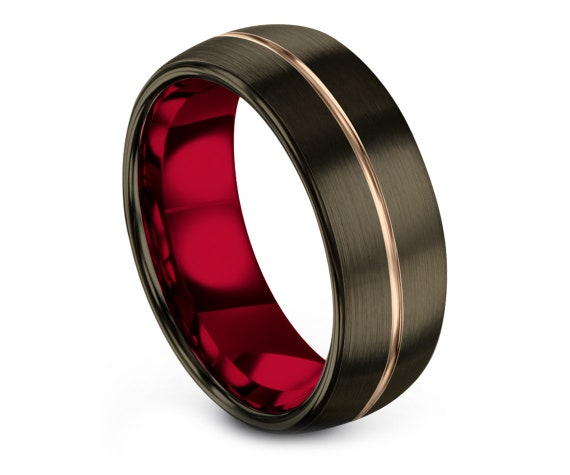 Domed Tungsten Wedding Band Gunmetal,8MM Tungsten Carbide Red,18K Rose Gold Ring,Mens Jewelry,Handmade Ring,Gift For Him,Free Shipping