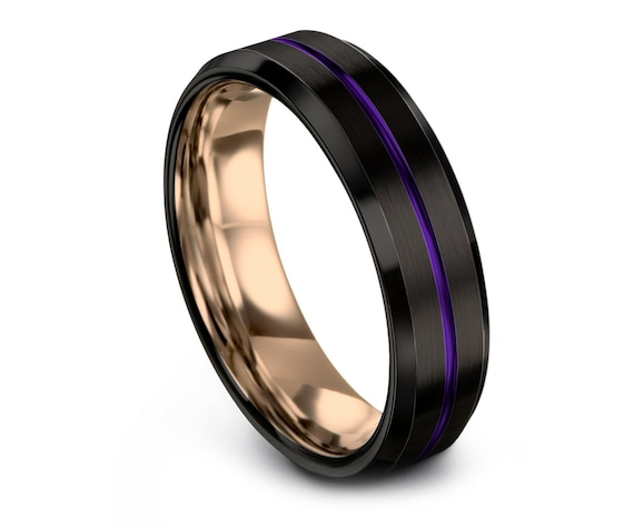 Beveled Tungsten Carbide Wedding Band Purple   Black Tungsten Wedding Ring   His and Hers   Purple and Black   Custom Engraving