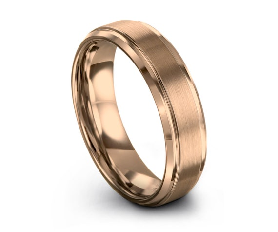Tungsten Ring Rose Gold 18K Mens Wedding Band, 10mm 8mm 6mm 4mm Widths, For Engagement Promise Gift Ideas with Free Shipping and Engraving