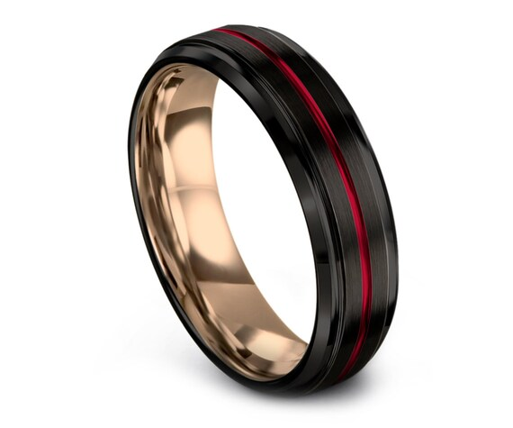 Awesome Wedding Band, Black Tungsten Ring, Comfort Band, 18K Rose Gold Ring, Mens Black Ring, Commitment Ring, Red Engraving, 6mm, 8mm