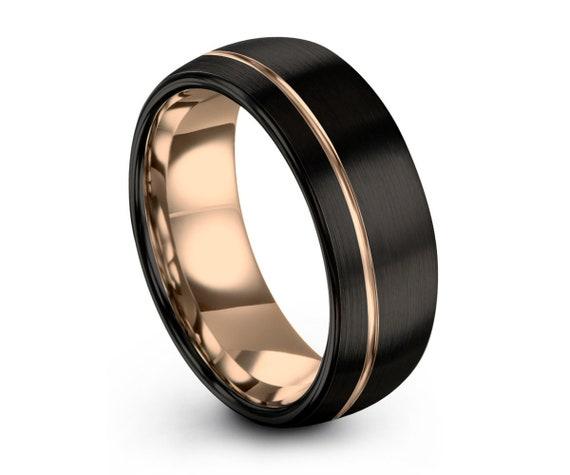 Mens Wedding Band Black, Rose Gold Wedding Ring, Tungsten Ring 8mm 18K, Engagement Ring, Promise Ring, Rings for Men, Rings for Women