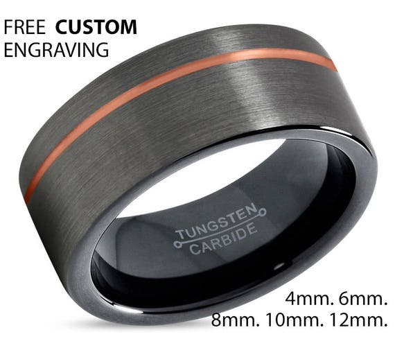 GUNMETAL Tungsten Ring, Mens Wedding Band Rose Gold 18K 8mm, Wedding Ring, Engagement Ring, Promise Ring, Rings for Men, Personalized