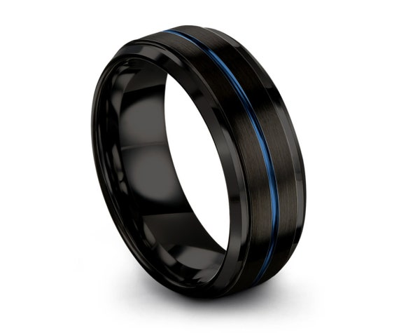 Mens Wedding Band, Tungsten Ring Black Blue 8mm, Wedding Ring, Engagement Ring, Promise Ring, Personalized, Gifts for Her, Gifts for Him