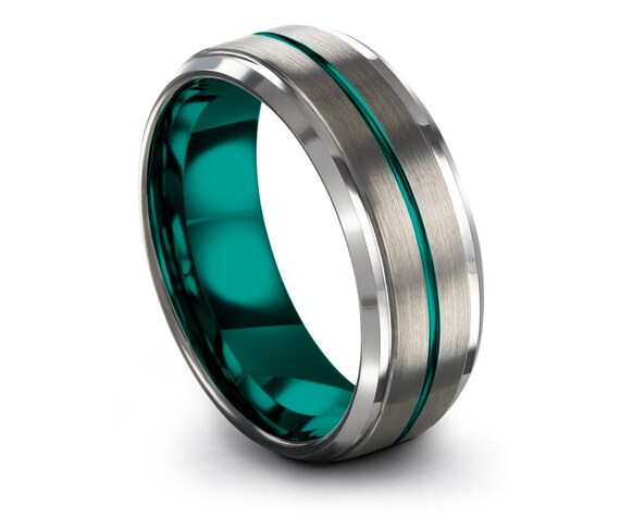 Beveled Silver Tungsten Wedding Band Brushed | Mens Wedding Band Rings | Engraved Teal Ring | Carrie Ring | Engagement Ring | Custom