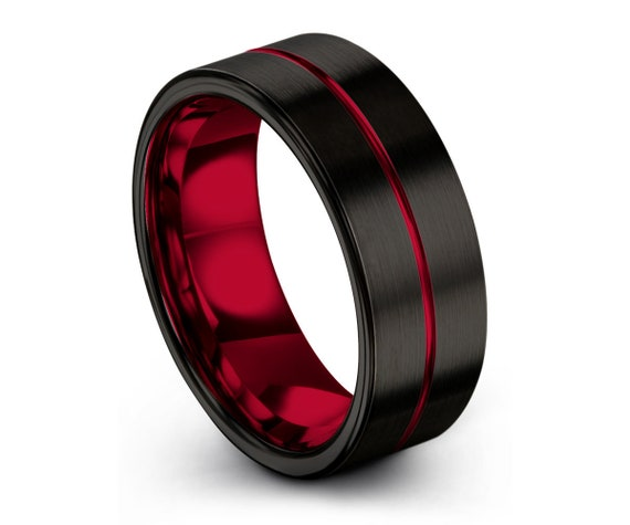 Tungsten Ring Red, Mens Wedding Band Black 6mm, Wedding Ring, Engagement Ring, Promise Ring, Gifts for Him, Mens Ring, Black Ring