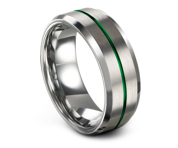 Silver His and Hers Wedding Bands,Beveled Tungsten Wedding Band,Tungsten Carbide Men Ring,Green Line Engraved Ring,Comfort Fit,Free Shipping