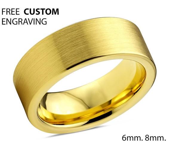 Mens Wedding Band, Tungsten Ring Yellow Gold 18K, Wedding Ring 8mm, Engagement Ring, Promise Ring, Rings for Men, Gold Ring, Mens Ring