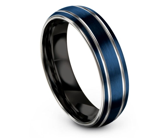 6MM Domed Blue Tungsten Rings Brushed | Engraved Wedding Band Silver | Inside Black Tungsten Wedding Band | His and Her | Gift For Her