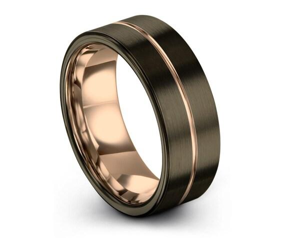 GUNMETAL Black Tungsten Ring Rose Gold Wedding Band Ring Tungsten Carbide 8mm 18K Tungsten Man Wedding Band Male Women Anniversary Matching
