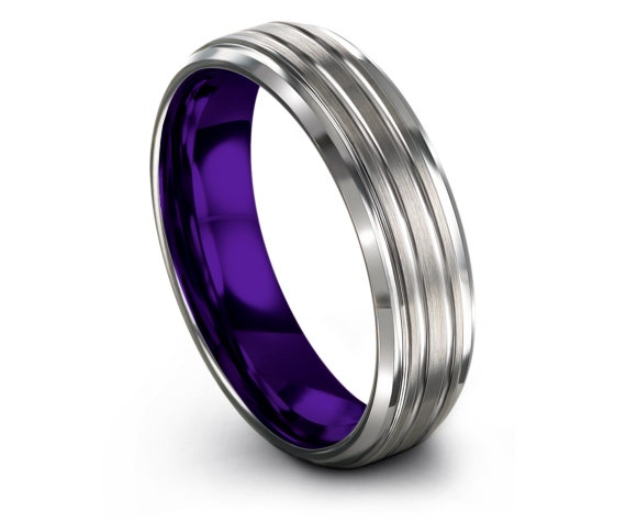 Personalized Engraved Rings,Unisex Tungsten Rings,Silver and Purple,Wedding Ring in Silver,Available Size, 6mm,8mm,Fast Free Shipping