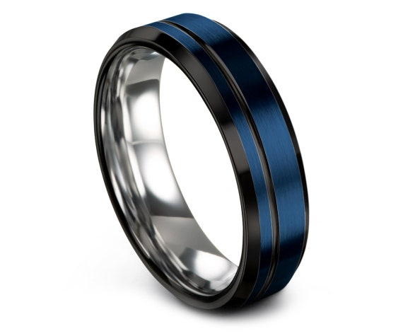 Personalized Gift Black Beveled - His and Hers - Blue and Silver - Engagement Ring Women 6mm - Handmade Bands - Off Line Engraving