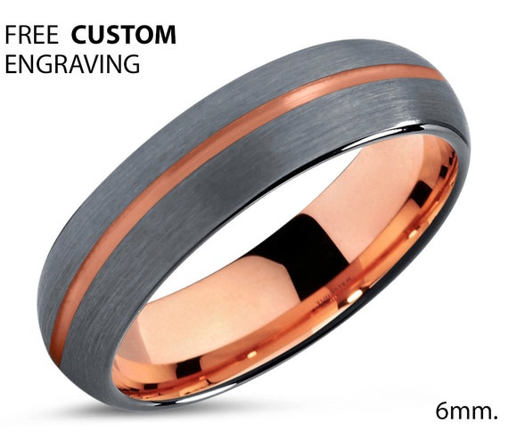 Brushed Silver Tungsten Carbide Ring Rose Gold Line Wedding Band 6mm Width, Anniversary Gift Idea His or Her Unisex Mens Womens Free Ship