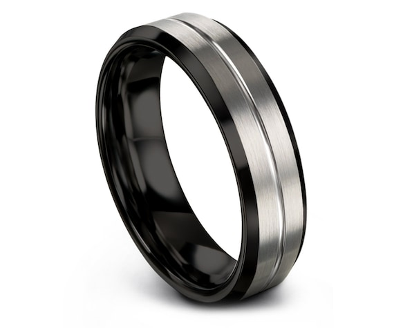 Men's Tungsten Wedding Band,Tungsten Carbide 6mm Ring,Tungsten Ring for Women,Mens Black Ring,Infinity Ring,Unique Band,Free Engraving