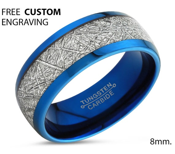 Blue Meteorite Tungsten Mens Wedding Band | Engagement Ring | Promise Ring for Men & Women