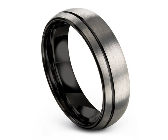 Personalized Engraving | Domed Tungsten Ring | Tungsten Wedding Band | Mens Wedding Ring | Engagement Gift | Free Shipping | Size 8 Ring