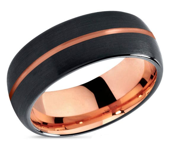 Mens Wedding Band Black, Rose Gold Wedding Ring, Tungsten Ring 8mm 18K, Engagement Ring, Promise Ring, Gifts for Her, Gifts for Him